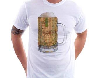 Manhattan NY Map Beer Mug Tee, Vintage City Maps Beer Mug Tees, Beer T-Shirt, Beer Thinkers, Beer Lovers, Cities, Beer Lover Tees