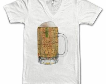 Ladies  Manhattan NY Map Beer Mug Tee, Vintage City Maps Beer Mug Tees, Beer T-Shirt, Beer Thinkers, Beer Lovers, Cities, Beer Lover Tees
