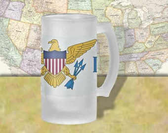 US Virgin Islands Flag Beer Mug, Beer Stein, Country Flag, Country Pride, Beer Glass, 16 oz., Frosted Mug, Beer Thinkers, Beer Lovers,  Beer