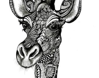 Giraffe Giclee Fine Art Print