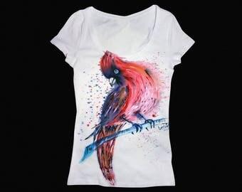 Red bird, Bird shirt, Bird tshirt, Red bird painting, Bird t shirt, Cardinal bird, Cardinals shirt, Custom to shirts, Custom tshirts, Custom