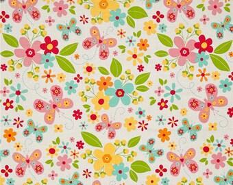 END OF BOLT!!!  2 Yards - Garden Girl - Main White by Zoe Pearn for Riley Blake - Garden Girl Fabric - Zoe Pearn Fabric -Riley Blake Fabrics