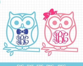 Owl Svg, Owl with Bow Monogram Frame, Owl with boy's bow, Owl with girl's bow, Cut files for Cricut or Silhouette, Svg, Eps, Dxf, Png, Jpg