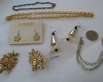 Vintage, Old stock, Jewelry lot, Bracelet, Earrings, Necklaces  J3489
