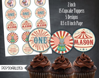 Dumbo Cupcake Toppers, Dumbo Thank You Tags, Dumbo Circus, Dumbo Birthday Favors, Dumbo Party, Favors, Personalized, Printables, Digital
