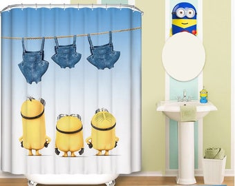 Mischievious Minion Pattern Fabric Shower Curtain
