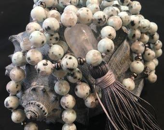 Mint Green Dalmation Jasper Hand Knotted Silk Tassel Mala / Yoga Necklace / 108 Prayer Beads / Mint / Green/ Spots / Grey