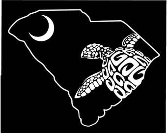 Loggerhead Sea Turtle Edisto SC Palmetto State  South Carolina Decal