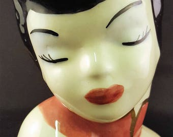 Oriental Lady Head Vase
