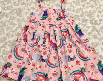 Pink Troll Summer Dress, trolls poppy dress, trolls dress, girls troll dress