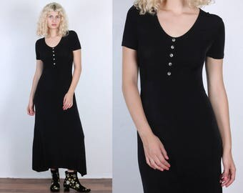 90s Grunge Dress // Vintage Black Stretchy Button Up Gothic Maxi - Medium to Large