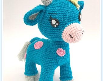 Cornflower blue, little cow crochet