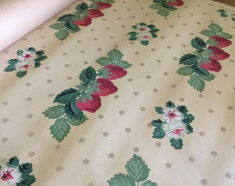 Vintage wallpaper Kitchen strawberries with silver dots 1940s wallpaper roll
