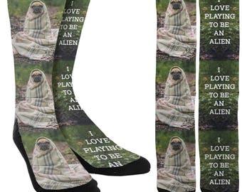 Alien Dog Crew Socks - Pug Socks - Funny Socks - Crazy Socks - Womens Novelty Socks - Mens Novelty Socks - Cute Socks - FREE Shipping B57