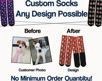 Custom Pet Socks - Custom Dog Socks - Custom Cat Socks - Dog Photo Socks - Your Pet or Photo on Socks - High Quality, Affordable Pricing