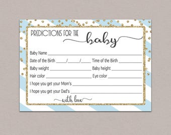BABY PREDICTION CARDS Blue, predictions for baby blue, baby shower predictions printable, baby predictions boys baby prediction game boy B23