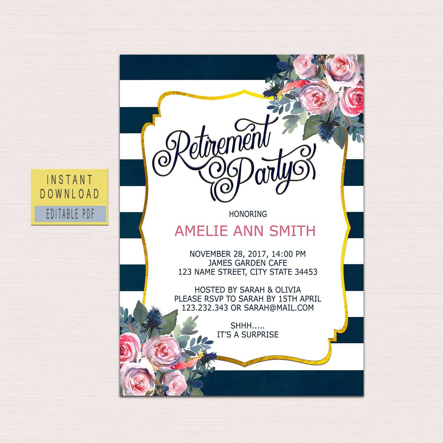 RETIREMENT INVITATION instant download, retirement party invitations ...