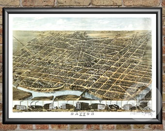 Dayton, Ohio Art Print From 1870 - Digitally Restored Old Dayton, OH Map Poster - Perfect For Fans Of Ohio History