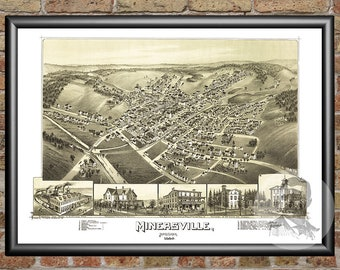 Minersville, Pennsylvania Art Print From 1889 - Digitally Restored Old Minersville, PA Map - Perfect For Fans Of Pennsylvania History