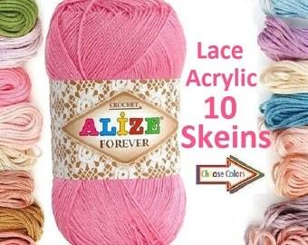 Wholesale, 10 ball like choose, Alize Forever, crochet, Acrylic yarn, soft yarn, lace yarn, lame yarn, summer yarn,  yarn, toys yarn