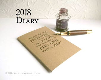 2018 Month Planner, Diary Notebook   Alice in Wonderland gift for book lover   2018 Calendar Book, Line a Day Diary, Bookish Pocket Planner