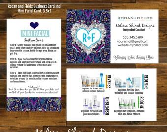 Boho Rodan and Fields mini facial card and business card DIGITAL file/ Size 3.5x2