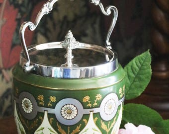 Victorian biscuit barrel, c1886, ceramic with silver plated fittings by William Hutton and Sons; hand decorated; cookie jar; ice bucket;