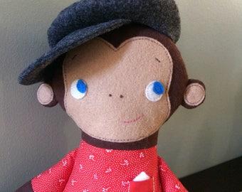 Handmade Doll, Piero Monkey, rag doll/softie