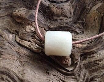 Hand Carved White Siberian Nephrite Jade Bead.