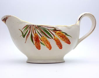 Classic Thanksgiving Themes Gravy Boat Sauce Dish With Wheat CreamPetal Porcelain Grinolet England