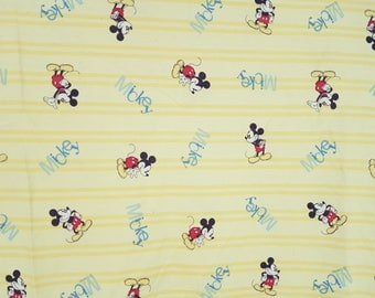 "Vintage Mickey Mouse Disney Flat Sheet Bed Sheets 79"" x 96"" Bed Size Full Yellow Cotton 90s Blanket Childhood Cartoon Memorabilia Bedding"