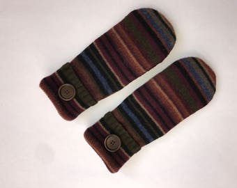 Sweater mittens, wool mittens, striped mittens, felted mittens, fleece lined, sweater gloves