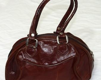 Vintage real leather women bag brown-burgundy