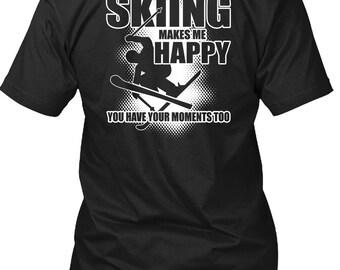 Skiing Makes Me Happy T Shirt, I Love Skiing T Shirt