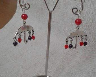 "Earrings ""umbrella and her beads"""