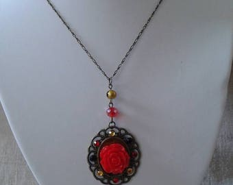 Necklace bronze and stunning red flower