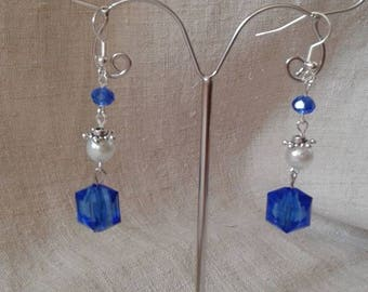 "Earrings ""blue and white wedding"""