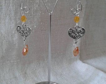 orange heart and Pearl Earrings