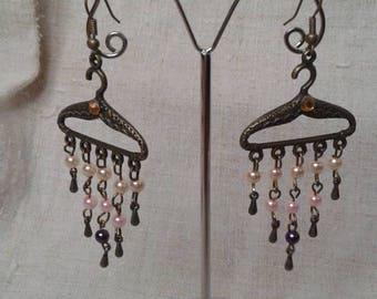 """Earrings """"hanger and beads"""""""