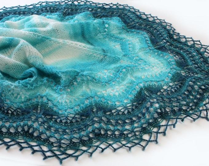 Knitted scarf shawl, knit shawl, knitted shawl, white turquoise shawl , knitted scarf, knit scarf, delicate shawl, crochet shawl