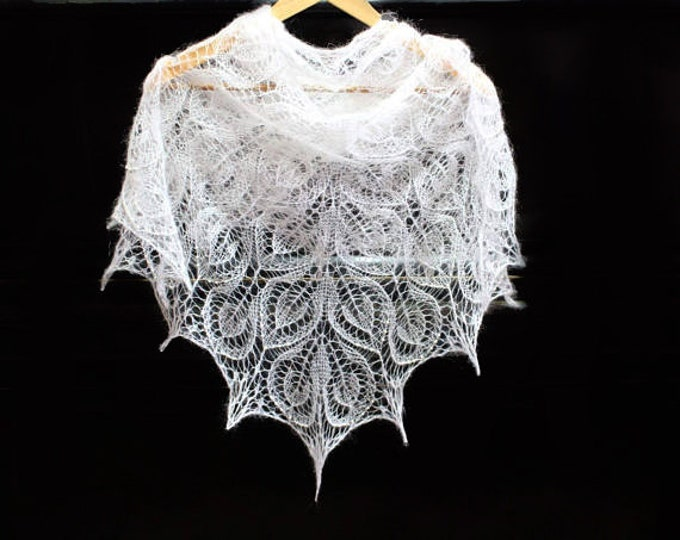 Wedding shawl with beaded, wedding wrap, shawl white, shawl mohair, hand knit shawl, crochet shawl, lace shawl, knit scarf, bridal shawl