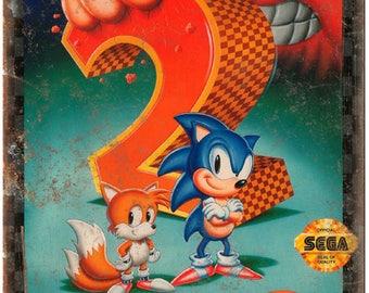 """Sega Genesis Sonic The Hedgehog 2 Video Game 10"""" x 7"""" reproduction metal sign"""