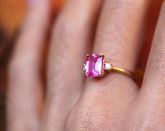 Genuine Pink Gemstone Ring