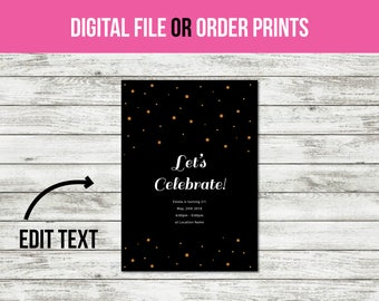 Birthday Invitation, Party Invitation, Adult Birthday, Birthday Invitation for Girls, Birthday Invitations for Women (1012) CUSTOM TEXT!