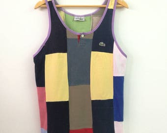 Rare !! Vintage LACOSTE Tanks Top Colour Block Beach Swimmers Summer France