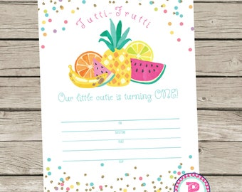 Tutti Frutti Tropical Fruit Fill In the Blank Birthday Party Invitation Instant Download Summer Luau Pineapple Watermelon Cutie ONE 5x7