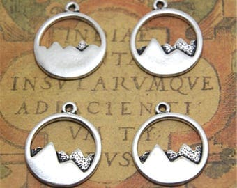 15pcs mountain charm silver tone round forest mountains charm pendant 20x23mm ASD2544
