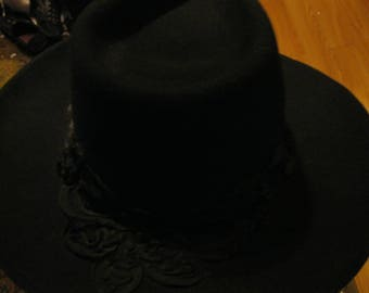 Concho Black Wool Hat Ladies size 7