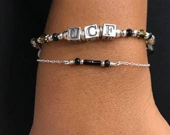 UCF Bracelet, UCF Jewelry, Ucf Knights Jewelry, Ucf Football, Ucf Letter Beads, Ucf Alumni, Univ of Central FL, College Jewelry, Ucf Mom