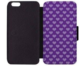 Valentine's Day Purple Hearts Light Dark Print Pattern Leather Wallet Flip Phone Case Cover Apple iPhone 5 5S 6 6S 7 Plus